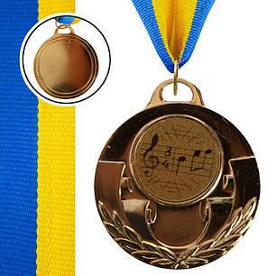 Медаль спортивная с лентой AIM d-5см Музыка (металл, 25g, 1-золото, 2-серебро, 3-бронза) Бронзовый PZ-C-4846-0067_1, фото 2