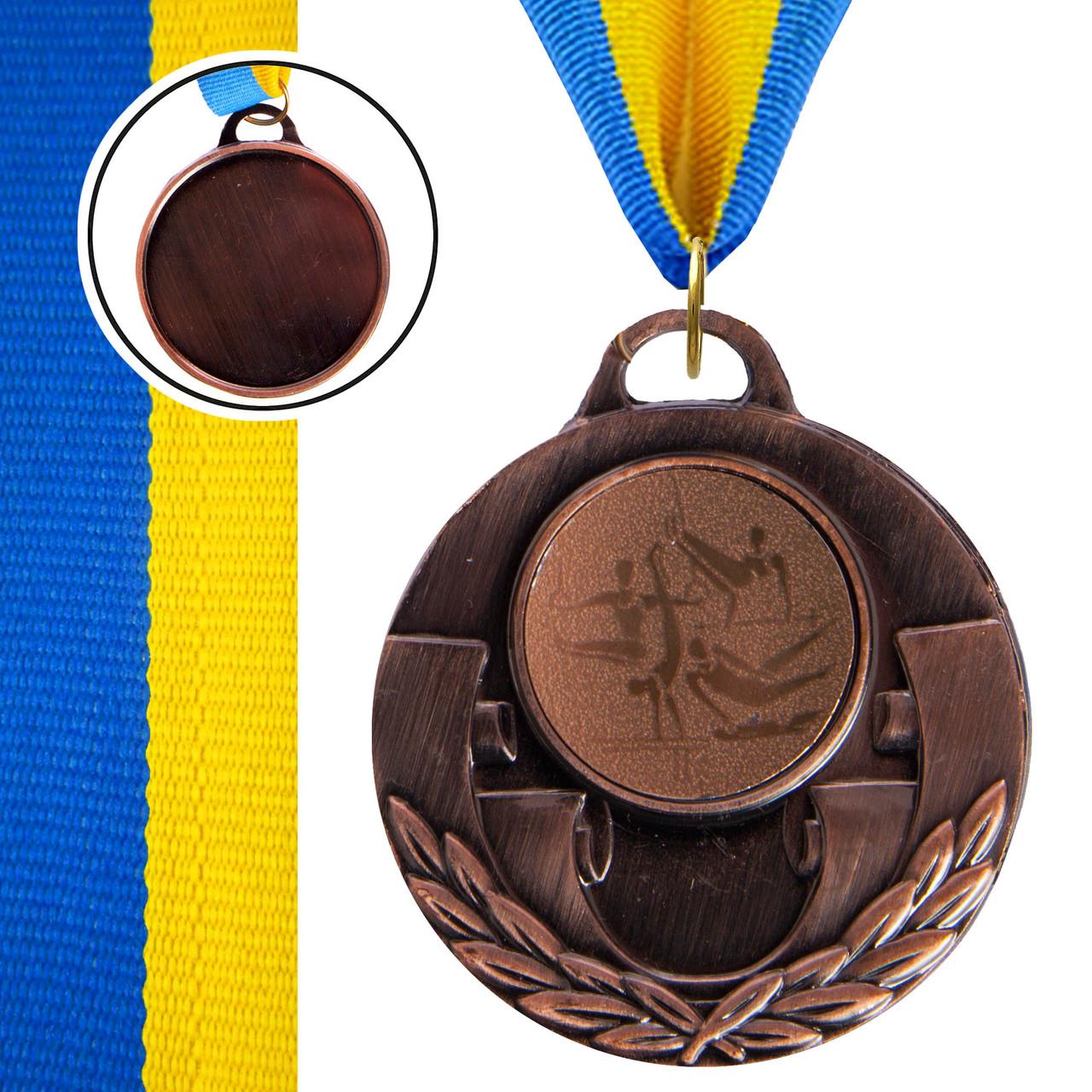 Медаль спортивная с лентой AIM d-5см Спорт.гимнаст. (металл, 25g, 1-золото, 2-серебро, 3-бронза) Бронзовый PZ-C-4846-0075_1