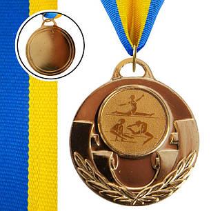 Медаль спортивная с лентой AIM d-5см Худ. гимнастика (металл, 25g, 1-золото, 2-серебро, 3-бронза) Бронзовый PZ-C-4846-0073_1, фото 2
