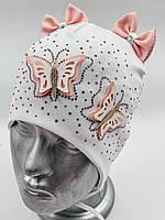 """ОПТ, Хлопковая шапочка детская для девочки """"Две бабочки"""", с завязками, фото 1"""