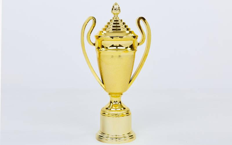 Кубок спортивный с ручками и крышкой FAVOITE (пластик, h-35см, b-17см,d чаши-10см, золото) PZ-HB4002B