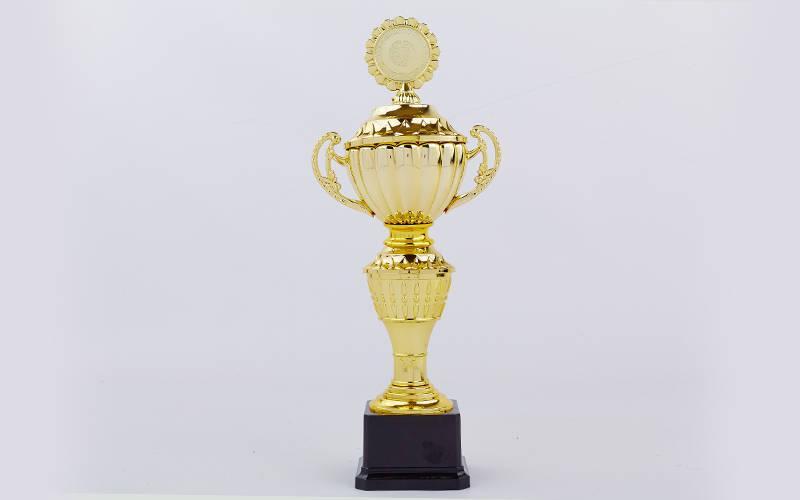 Кубок спортивный с ручками, крышкой и местом под жетон FORE (h-34,5см, b-14см, d-9см,зол) PZ-C-F7895B