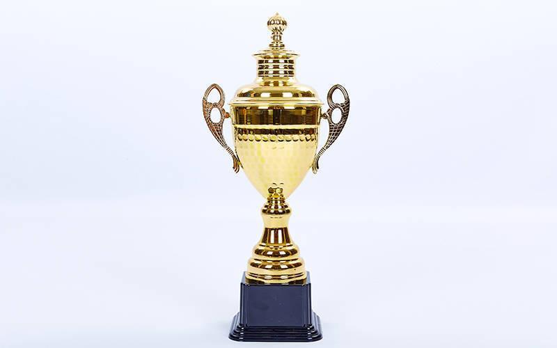 Кубок спортивный с ручками и крышкой GRAND (металл, h-36см, b-17см, d чаши-10,5см, золото) PZ-C-1506D