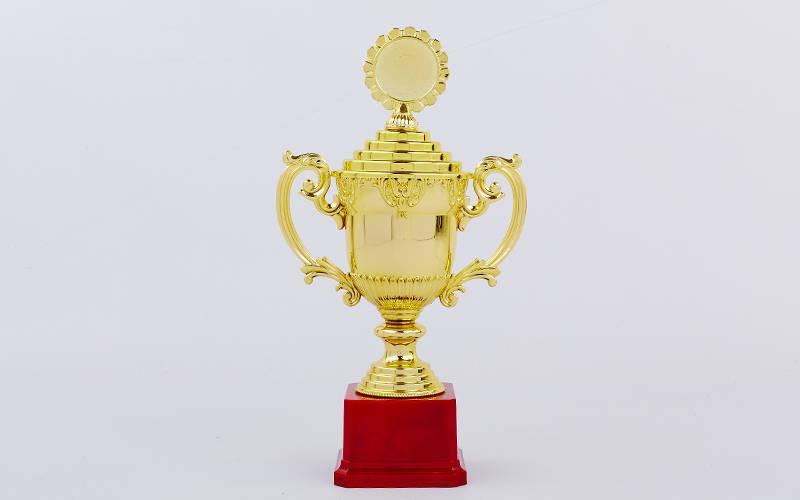 Кубок спортивный с ручками, крышкой и местом под жетон h-29,5см (h-29,5см, b-16см,d-9см,зол PZ-C-896-3B
