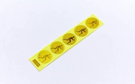 Наклейка (жетон) на медаль, кубок d-2,5см Большой теннис (1,2,3 место,1уп.-120шт,цена за1шт) Золотой PZ-25-0079_1, фото 2