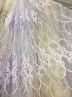 Белый тюль с вышивкой шнуром с люрексом