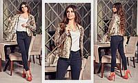 Женская куртка косуха из эко-кожи в животный принт