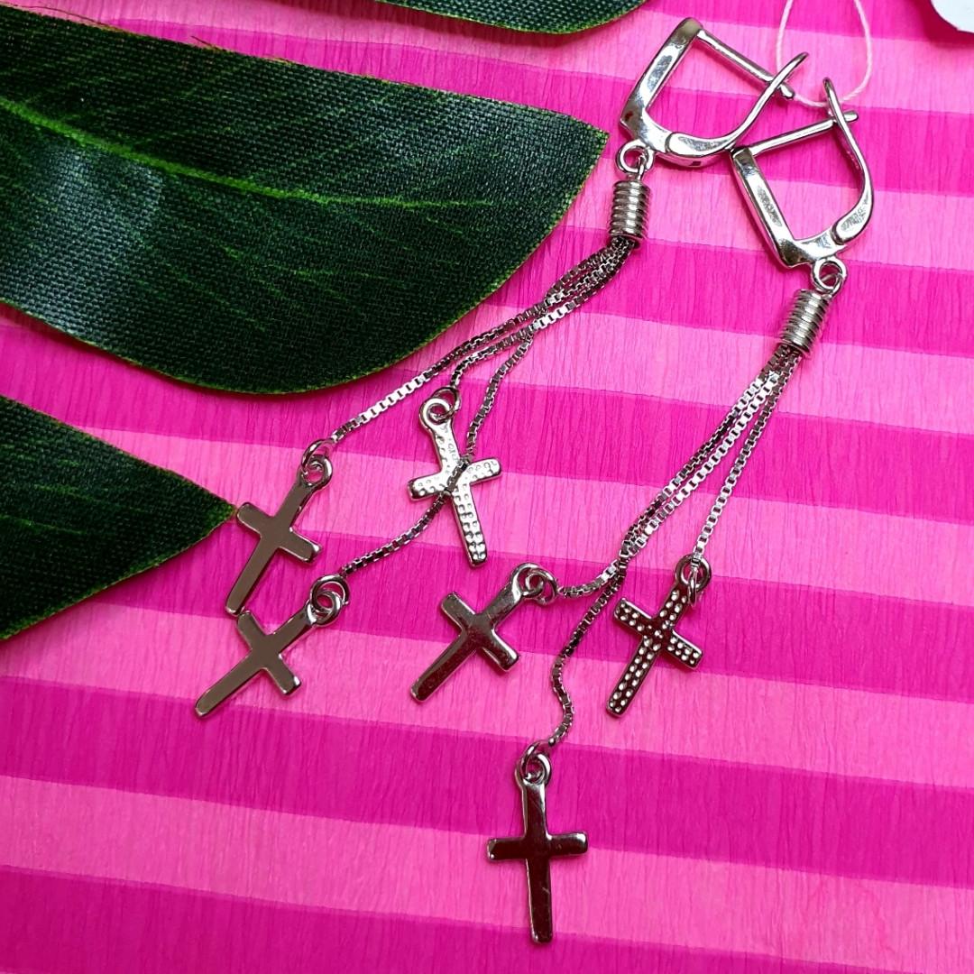 Серебряные серьги крестики - Серьги Кресты висячие серебро