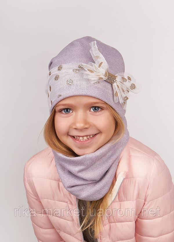 Набор для девочки (шапка+хомут), арт. Ирен, возраст от 1,5 до 5 лет ТМ Дембохаус