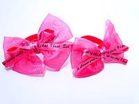 """Детские резинки для волос """"Бантик надпись"""" пара  2 шт., цвет розовый"""