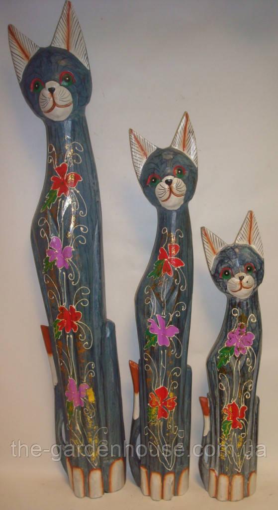 Статуэтка голубой кошки в цветочек, 80 см