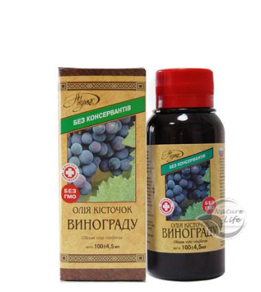 Масло косточек винограда 100 мл- для улучшения функционирования ЖКТ, сердечно-сосудистой системы, печени