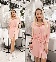 Платье женское с кулиской по талии (6 цветов) ТК/-1236 - Пудровый, фото 1