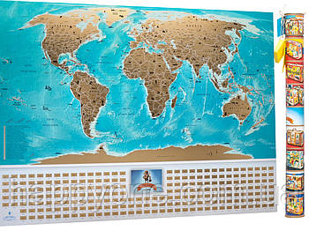 Скретч карта мира с флагами My Map Flags Edition (английский язык) в тубусе