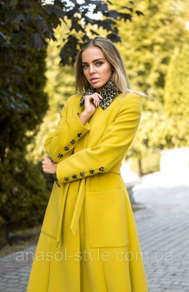 Пальто с расклешонным низом и декоративным воротником желтое