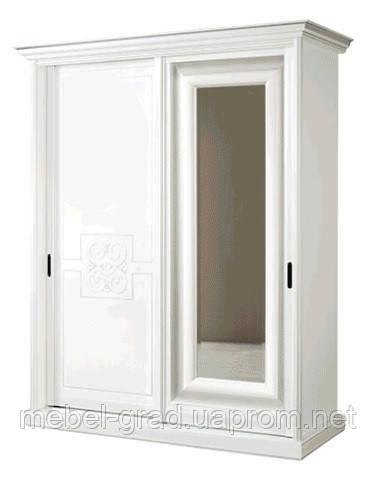 Шкаф - купе с зеркалом С-3 1,9 м Скай белый глянец