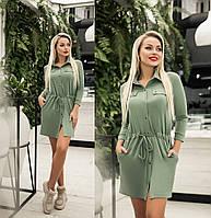 Платье женское с кулиской по талии (6 цветов) ТК/-1236 - Оливковый, фото 1