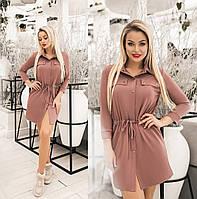 Сукня жіноча з куліскою по талії (6 кольорів) ТК/-1236 - Темно-бежевий, фото 1