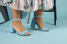 Женские замшевые босоножки на каблуке, голубые, р.36-41
