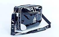 Сумка лакированная молодежная через плечо Adidas (лакированная кожа PU, 37х27х14см, чер-бел) PZ-GA-115