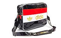 Сумка лакированная молодежная через плечо Adidas (лакированная кожа PU, 39х30х16см,черн) PZ-GA-7880-B