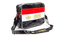 Сумка лакированная молодежная через плечо Adidas (лакированная кожа PU, 37х27х14см, черн) PZ-GA-7880-S