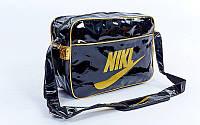 Сумка лакированная молодежная через плечо Nike (лакированная кожа PU, 40х27х13см, черный) PZ-GA-120