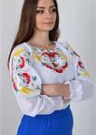 Очаровательная женская сорочка украшена вышитыми ромашки и калина  в белом цвете, фото 2