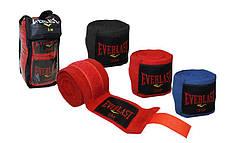 Бинты боксерские (2шт) хлопок с эластаном Everlast (l-3м) Красный PZ-BO-3729-3_1, фото 2