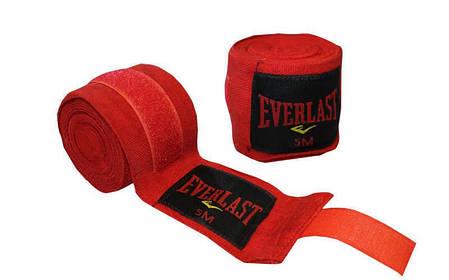 Бинты боксерские (2шт) хлопок с эластаном Everlast (l-5м) Красный PZ-BO-3729-5_1, фото 2
