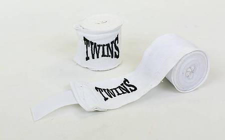 Бинты боксерские (2шт) хлопок с эластаном Twins (l-3м) Белый PZ-MA-5466-3_1, фото 2