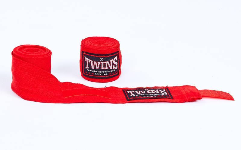 Бинты боксерские (2шт) хлопок с эластаном Twins (l-3м) Красный PZ-BO-5318-3_1