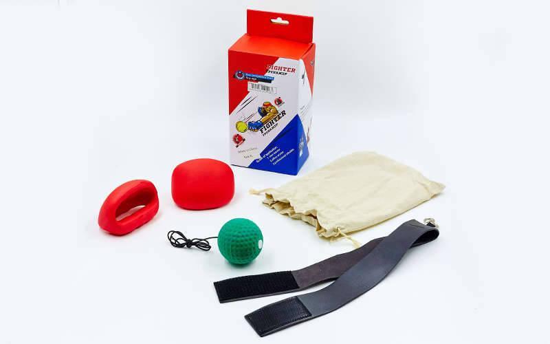 Тренажер для бокса fight ball с накладками для рук (для детей, M-XL-4-16лет, для взрослых XXL-XXXL, черный-красный-зеленый) PZ-BO-5646
