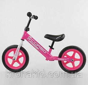 """Детский велобег """"CORSO"""" 21001, стальная рама, колёса EVA (ПЕНА), размер колес - 12 (розовый), фото 2"""