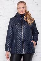 Женская лакированная куртка весна осень большого размера 50-60 размера темно-синяя