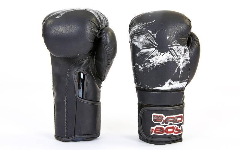 Перчатки боксерские FLEX на липучке BDB SPIDER (10-12oz) Черный-белый 12 унции PZ-VL-6602_1