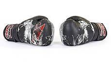 Перчатки боксерские FLEX на липучке BDB SPIDER (10-12oz) Черный-белый 12 унции PZ-VL-6602_1, фото 2