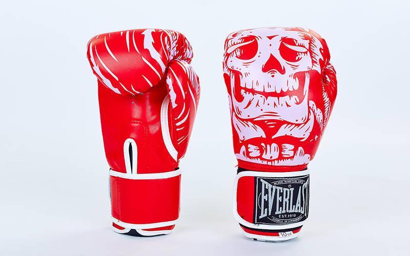 Перчатки боксерские FLEX на липучке Everlast SKULL (8-12oz) Красный 8 унции PZ-BO-5493_1