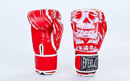 Перчатки боксерские FLEX на липучке Everlast SKULL (8-12oz) Красный 8 унции PZ-BO-5493_1, фото 2