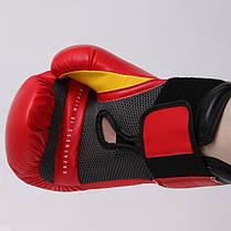 Перчатки боксерские PU на липучке Everlast PRO STYLE ELITE (14oz, красный-черный) PZ-P00001198, фото 3