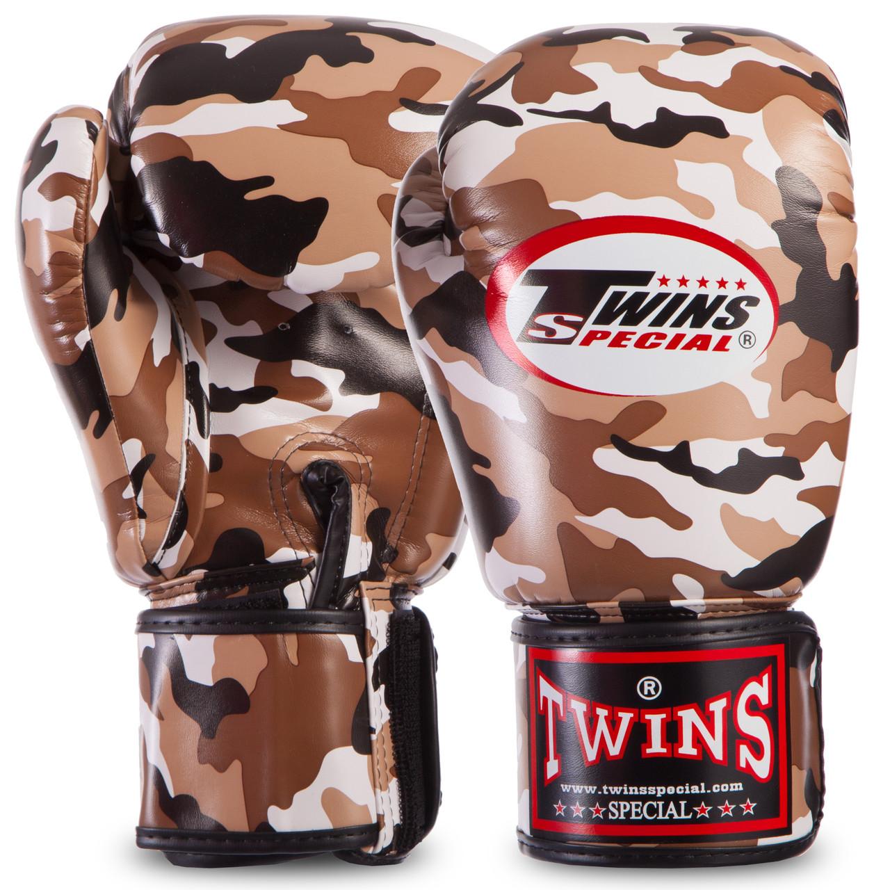 Перчатки боксерские PU на липучке Twins (12-16oz) Камуфляж коричневый 12 унции PZ-FBGVS3-ML_1