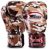 Перчатки боксерские PU на липучке Twins (12-16oz) Камуфляж коричневый 12 унции PZ-FBGVS3-ML_1, фото 2