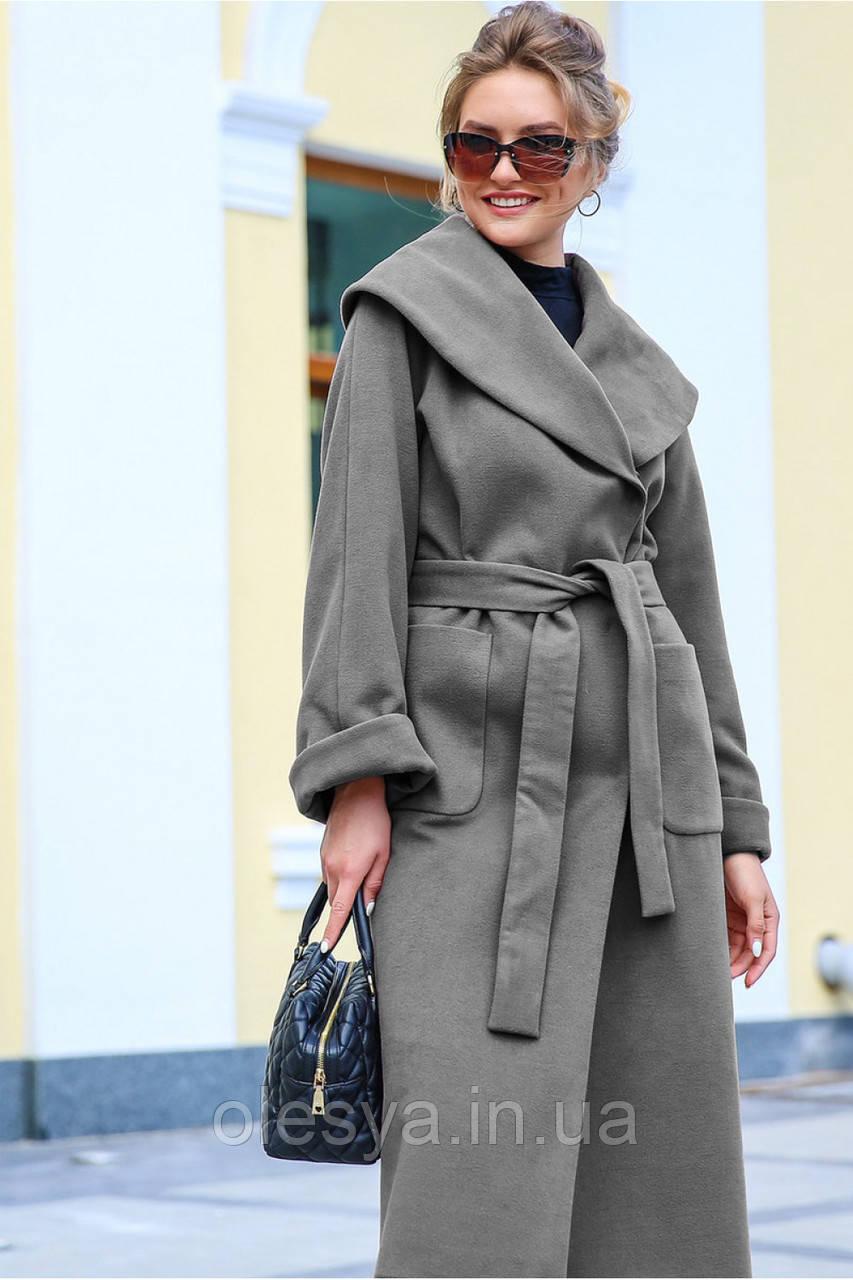 Длинное женское кашемировое пальто Гаяна  ТМ Nui Very Размеры 46, 52