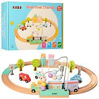 Деревянная детская железная дорога с рельсами и пальчиковым лабиринтом/ Залізниця, серпантинка MD 2330
