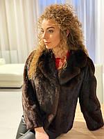 Женский норковый полушубок короткий коричневого цвета с английским воротником размер М, фото 1