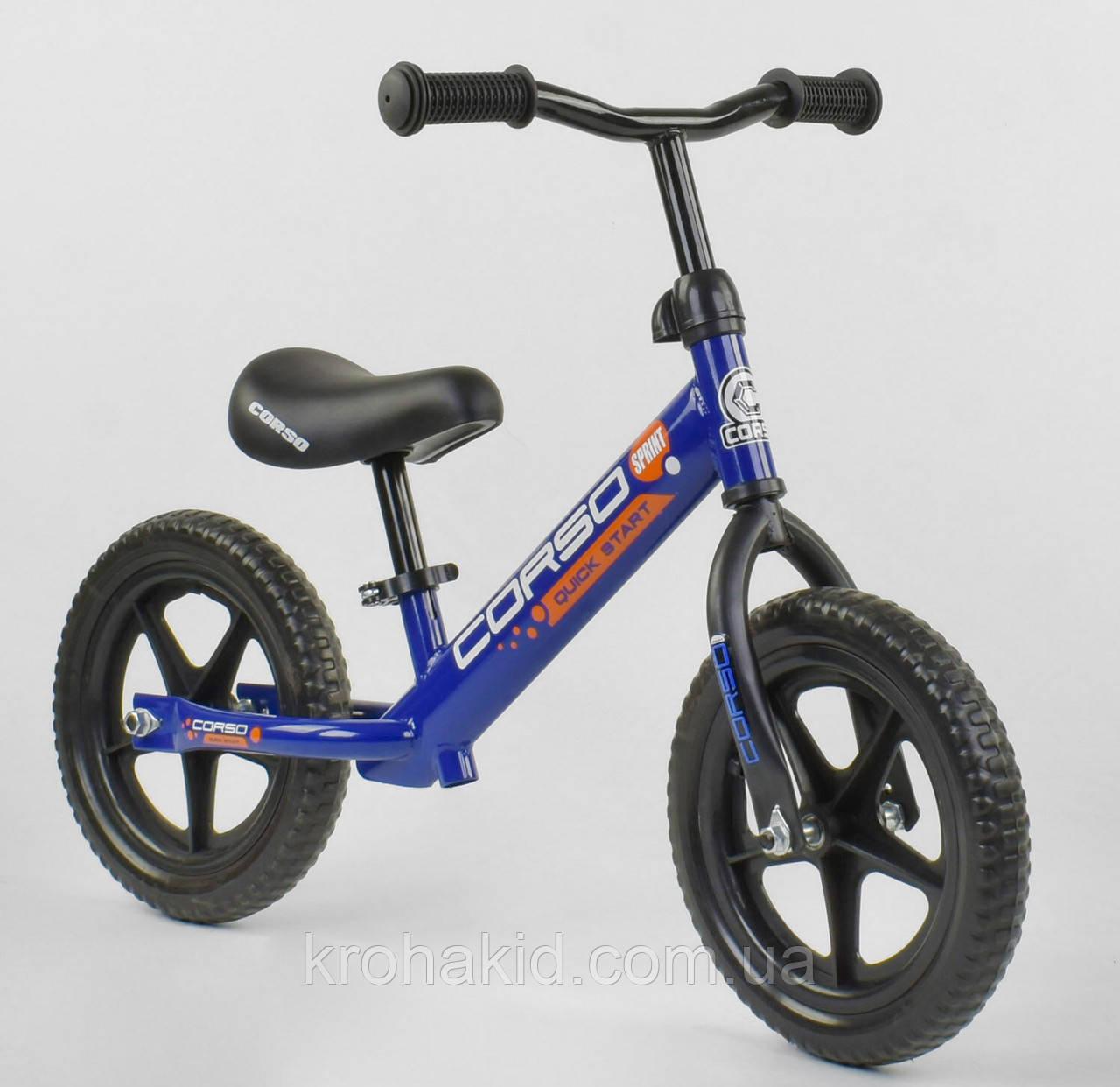 """Детский велобег """"CORSO"""" 43118, стальная рама, колёса EVA (ПЕНА), размер колес - 12 (синий)"""