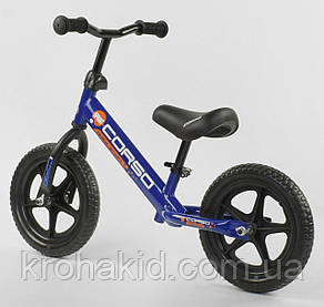 """Детский велобег """"CORSO"""" 43118, стальная рама, колёса EVA (ПЕНА), размер колес - 12 (синий), фото 2"""