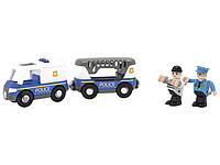 Полицейская машина с автоприцепом для деревянной железной дороги Playtive Junior, фото 1