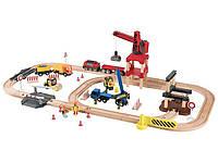 Деревянная железная дорога Строительная площадка 3,8м 67 элементов PlayTive Junior, фото 1