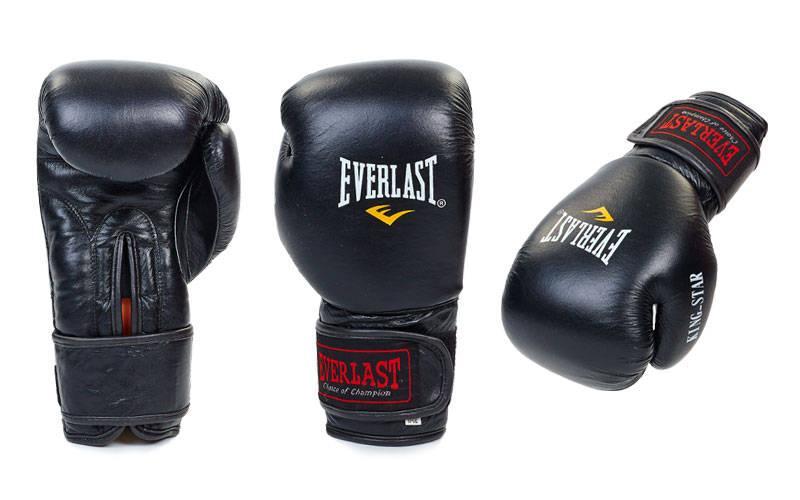 Перчатки боксерские кожаные на липучке Everlast (8-12oz) Черный 8 унции PZ-BO-4748_1